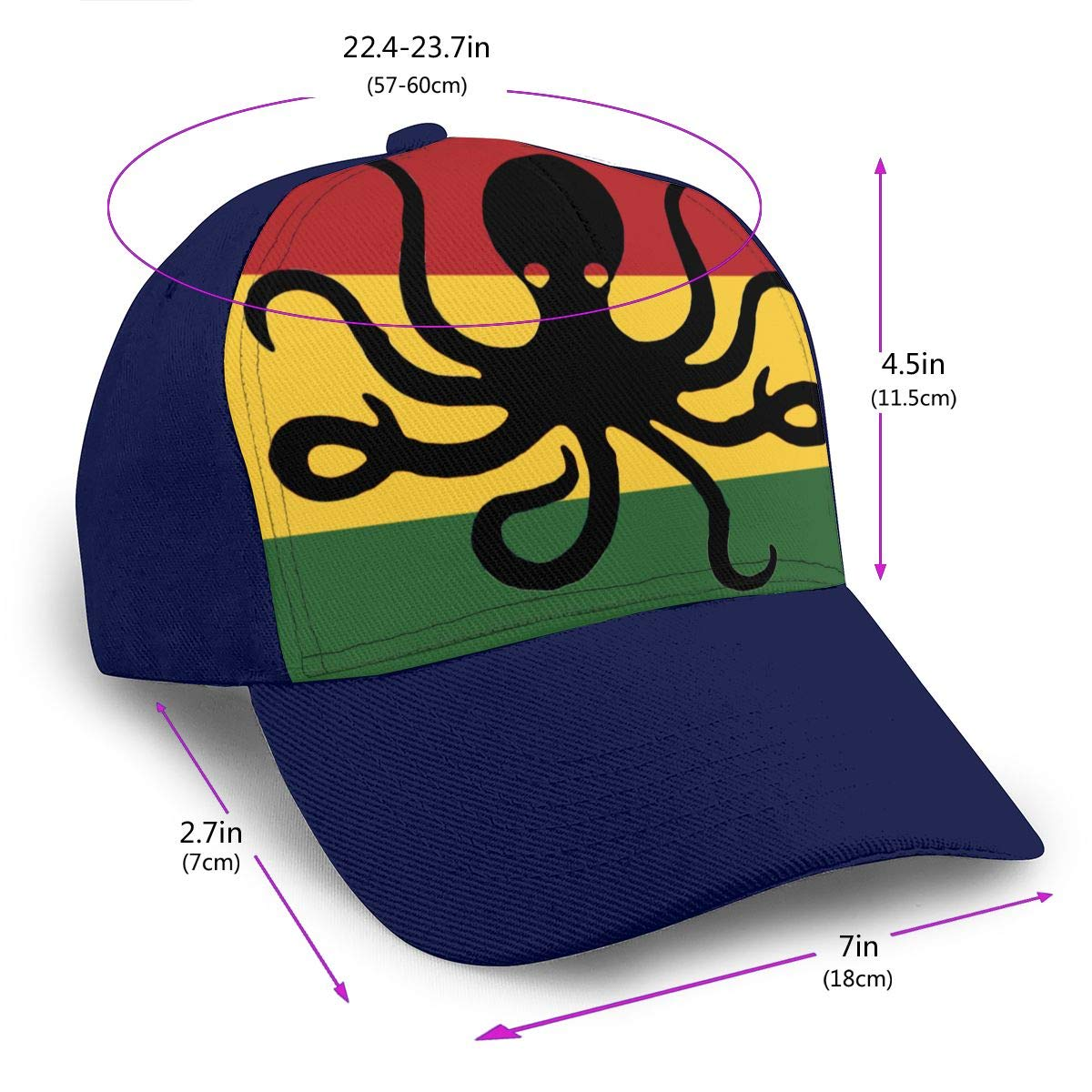 Y94OIW@MAO Octopus Rasta Flag Trucker Hat for Mens and Womens Cotton Mountaineering Cap