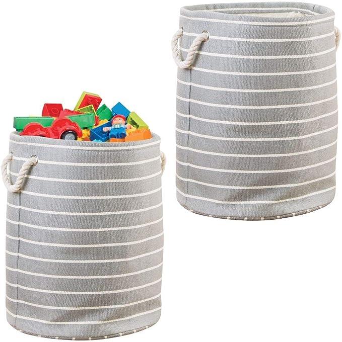 mDesign Juego de 2 Cajas de Almacenamiento Grandes con Asas – Caja de Juguetes para ordenar el Cuarto de los niños – Organizador de Juguetes, Ropa, Mantas, etc. – Gris/Crema: Amazon.es: Hogar