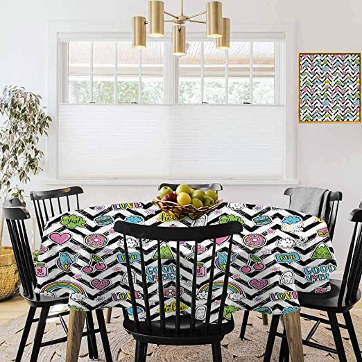 Amazon Com 60 Round Tablecloths Micro Elastic Wallpaper Good Vibes Black Zigzags With Colorful Cartoon Figures Cute Clouds Rainbow Ghost And Sweets Multicolor Home Kitchen