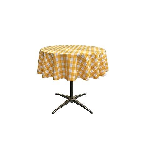 LA Linen Poly Checkered Round Tablecloth, 58 Inch, Dark Yellow/White