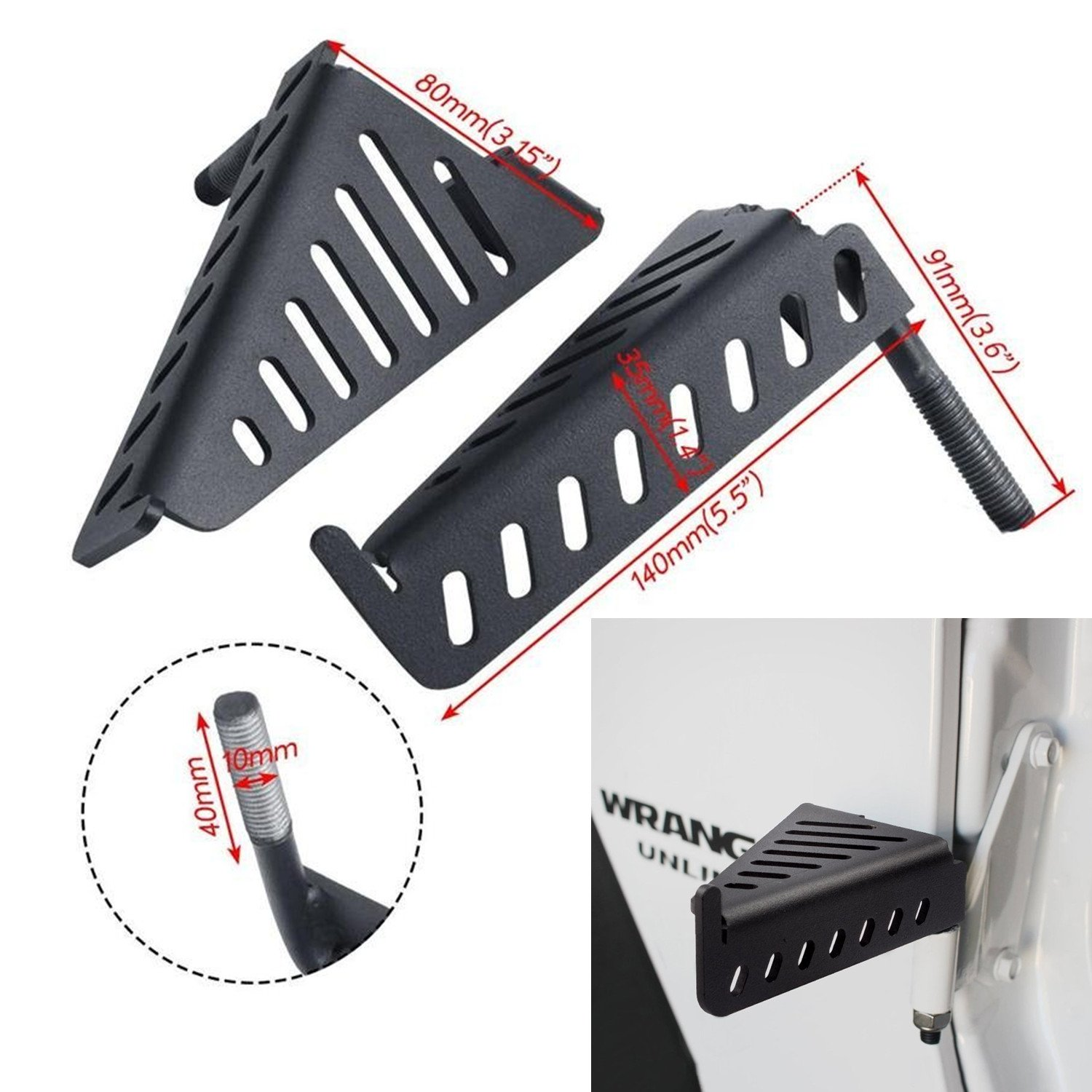 Jeep Foot Pegs for 2007-2016 Jeep Wrangler Jk & Unlimited Black Pair (Foot Peg-02)