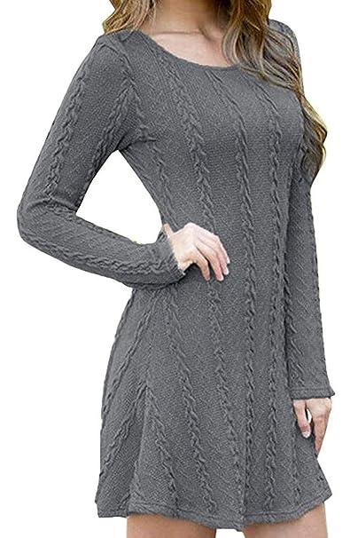 ca77440fa304c ORANDESIGNE Maglione Manica Lunga Donna Semplice Maglia Vestito Knit  Pullover Magliette Invernali Casual Mini Abito Tinta Unita  Amazon.it   Abbigliamento