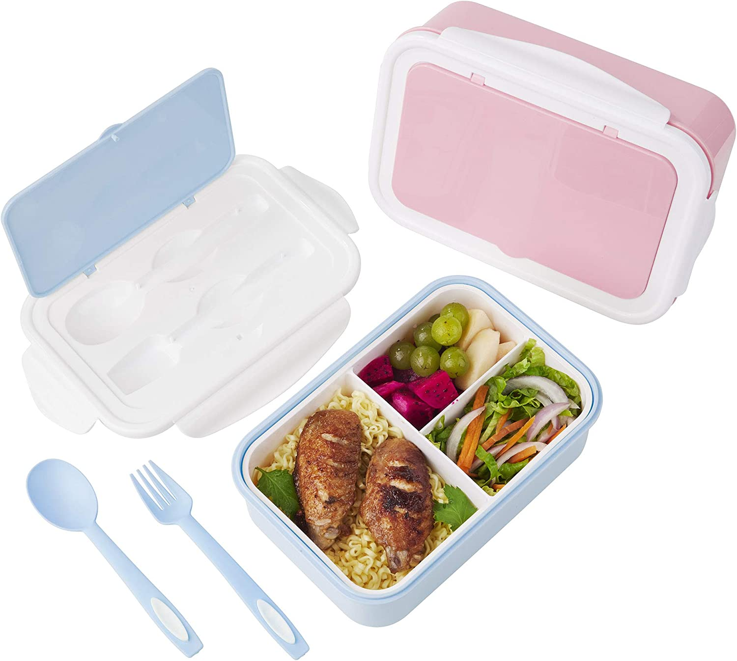 2 PACK Lunch Containers For Kids & Adults, Bento box with Spoon & Fork,Reusable 3-Compartment Divided Food Storage Container Boxes, On-the-Go Meal and Snack Packing(Pink+Blue)