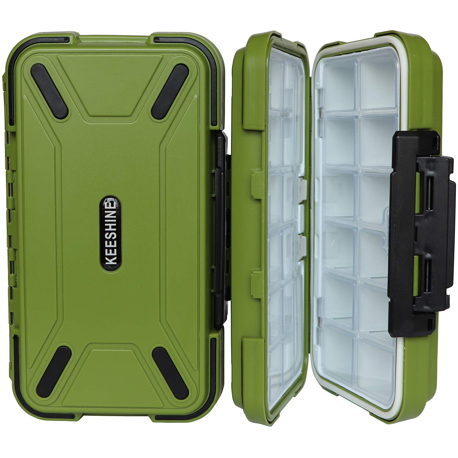 KEESHINE Waterproof Fishing Tackle Box, Storage Box, Plastic Fishing Lure Box, Removable Grid Storage Jewelry Organizer Making Kit Container for Lure Hook Beads Earring Tool(Green) by KEESHINE