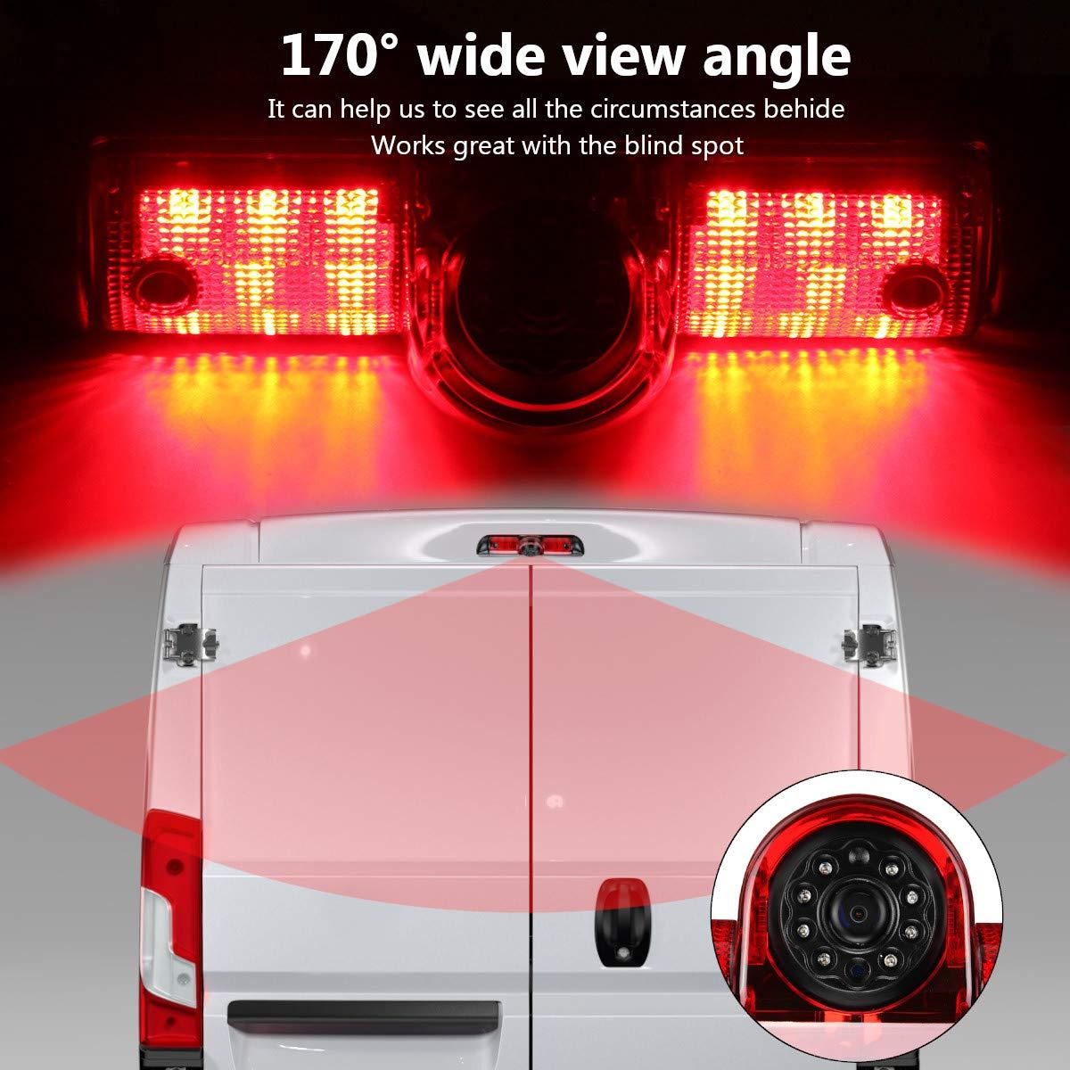 Misayaee Car Third Roof top mount brake lamp camera Brake Light Rear View Backup Camera for Transporter Express//GMC SAVANA 2003-2018//Explorer Vans//Chevy Express