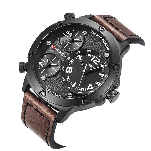 MOZISEN Relojes de Vestir 8262 Relojes de Tres Relojes a Prueba de Agua Reloj Grande de Cuero Reloj de Calendario de Hombres: Amazon.es: Relojes