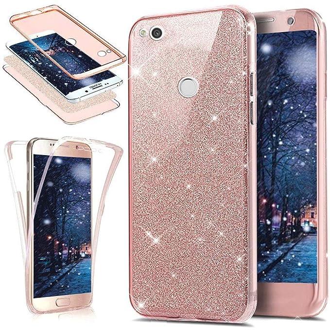 Kompatibel mit Huawei P8 Lite 2017 Hülle,Full-Body 360 Grad Bling Glänzend Glitzer Klar Durchsichtige TPU Silikon Hülle Handy