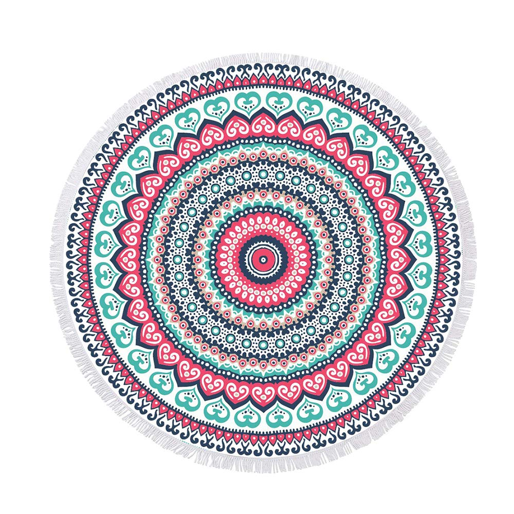 btcus4 Thick Oversized Round Beach Towel Blanket with Tassels, Quick Dry, Ultra Soft Super Water Absorbent High Color Fastness Multi-Purpose - 124 Mandala