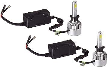 turbosii 16000lm 6500 K COB chips LED bombillas para faros delanteros H1 Kit de conversión ...
