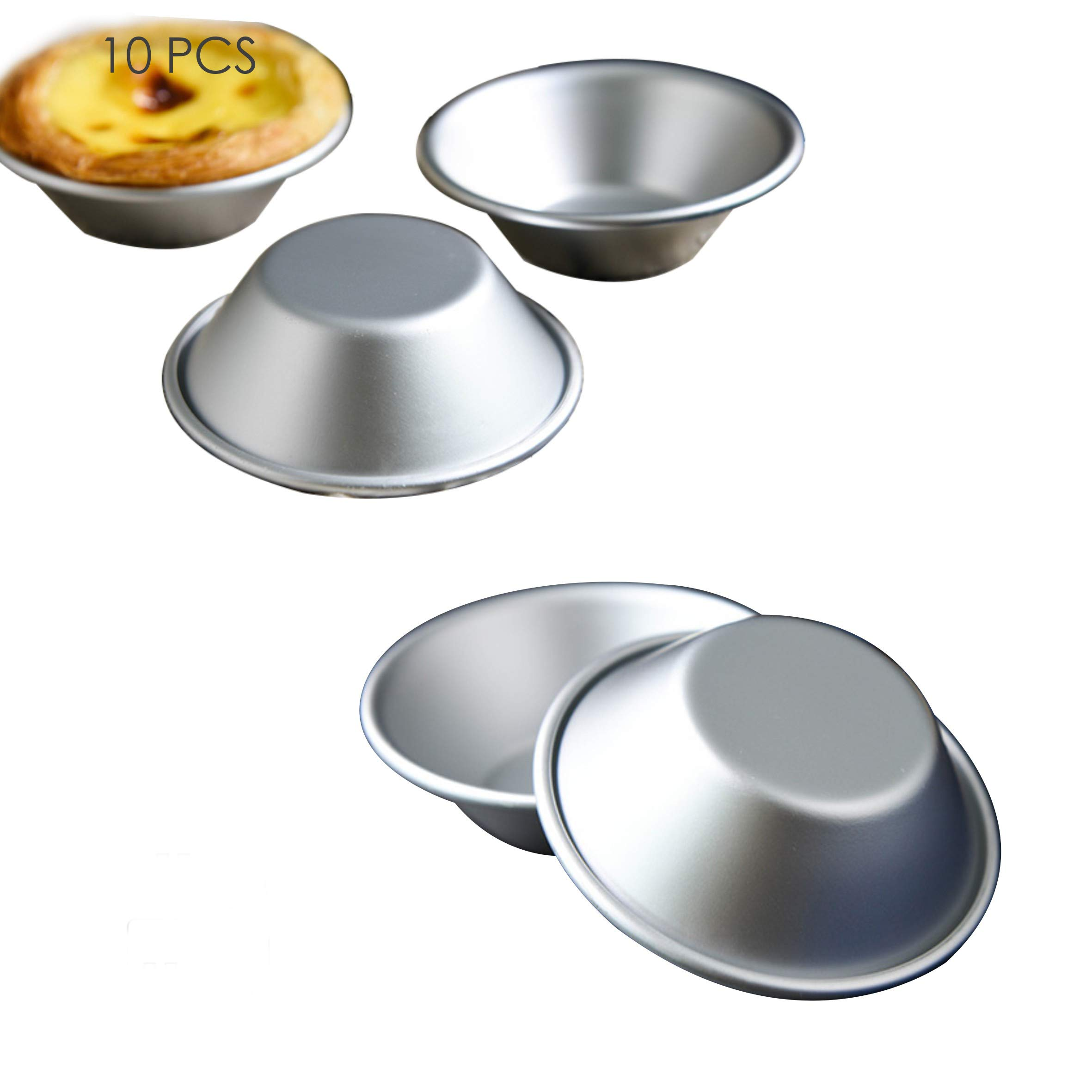 """Mini Pie Pans, Cake Cookie Mold ,Set of 10 Anodized Aluminum Pudding Mould Baking Tool ,Size 2.87""""0.86"""" By GLLEEN"""