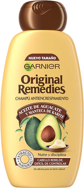 Garnier Original Remedies Aceite de aguacate y manteca de karité Champú para pelo rebelde y encrespado - 300 ml