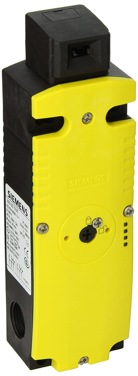 Siemens 3SE5 322-1SD21 Interlock Switch 54mm Plastic Enclosure Yellow//Green LEDs Spring Actuated Locks 24VDC Rated Operational Voltage 3SE53221SD21 1300N Locking Force Auxiliary Release