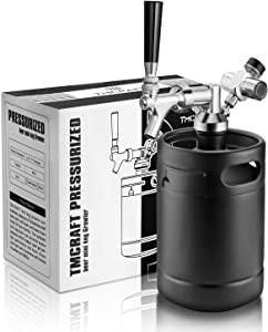 TMCRAFT 64oz Growler Tap System, Pressurized Stainless Steel Mini Keg with Cooler Jacket, Portable Home Dispenser System to Keep Fresh and Carbonation for Draft, Homebrew and Craft Beer (Matte Black)