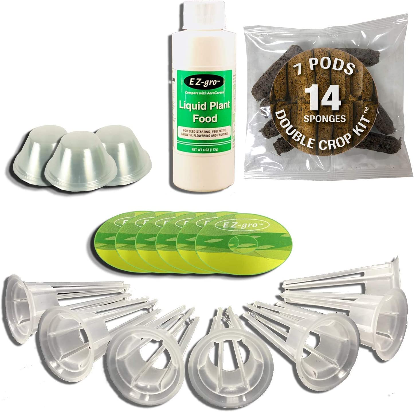 EZ-gro Seedless Double Crop Kit (7 Pod) Compatible with Aerogarden | Double Sponges for 2 Crops | Peel and Stick Labels | 25% More Fertilizer | Compatible with All Aerogarden Pods