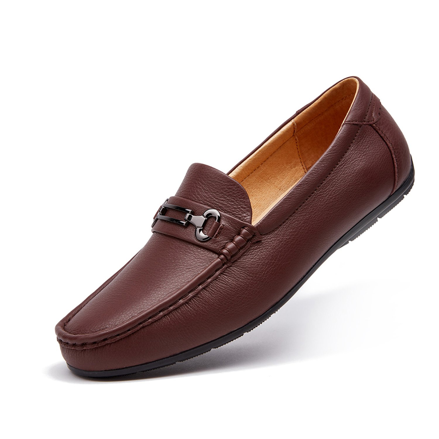 ZRO Men's Classic Bit Slip-On Casua Leather Loafers Driving Shoes Dark Brown US 10