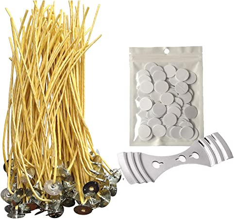 100 Pieces DIY Candle Wicks Waxed Wicks with Sustainer Tabs Candle Making Kit