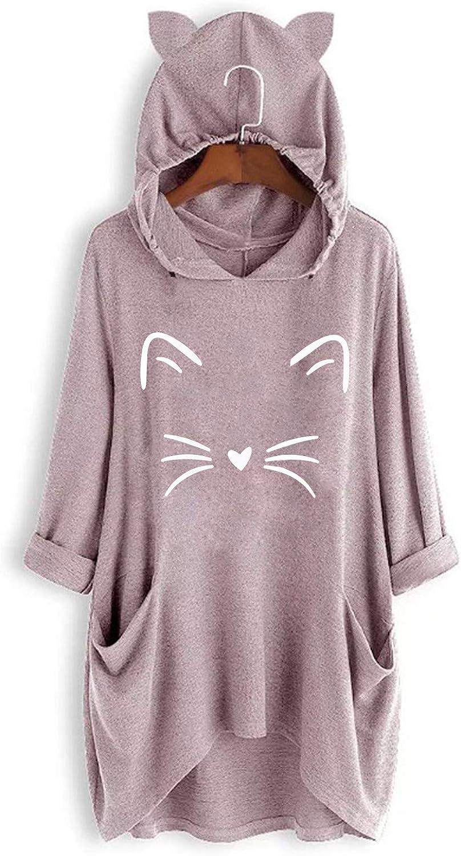 KANGMOON Women Cute Hoodie Sweatshirt Christmas Print Jumper Hooded Pullover Tops Long Sleeve Blouse Shirts Plus Size Tunics