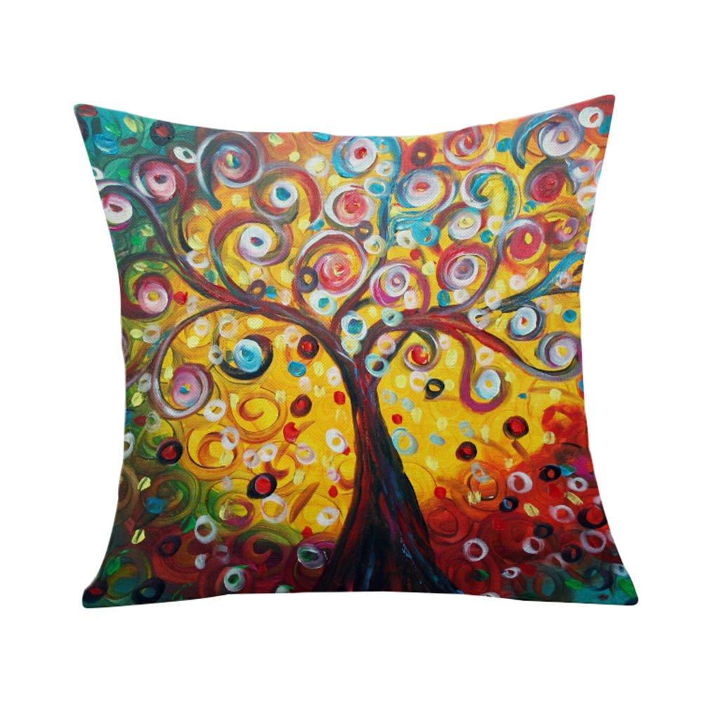 Outflower Funda Almohada Art Europea 3D Tres Dimensiones Pintura /árbol Fortuna /Árbol Vida Art Funda de Almohada Dibujo Mano Impresos//Dormitorio//sal/ón//Oficina//Coche//Sof/á 45 45 cm Funda para Coj/ín