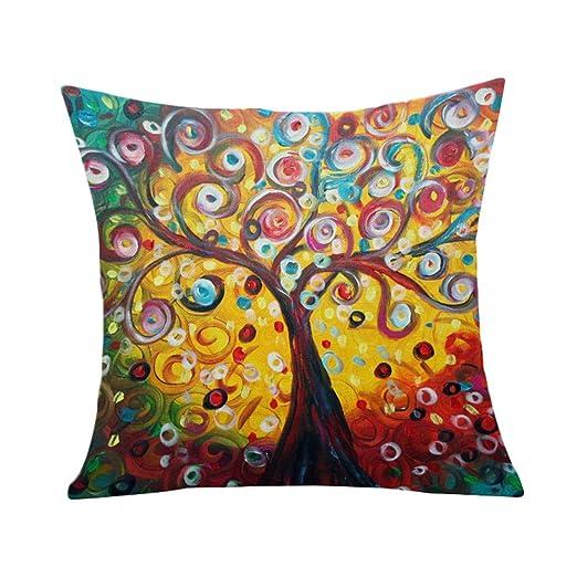 Outflower Funda de cojín Europea 3D en Tres Dimensiones Pintura árbol de la Fortuna Árbol de la Vida Art Funda de Almohada de Dibujo de la Mano ...