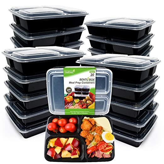 Recipiente para comida [20 unidades] 3 compartimentos para comida ...