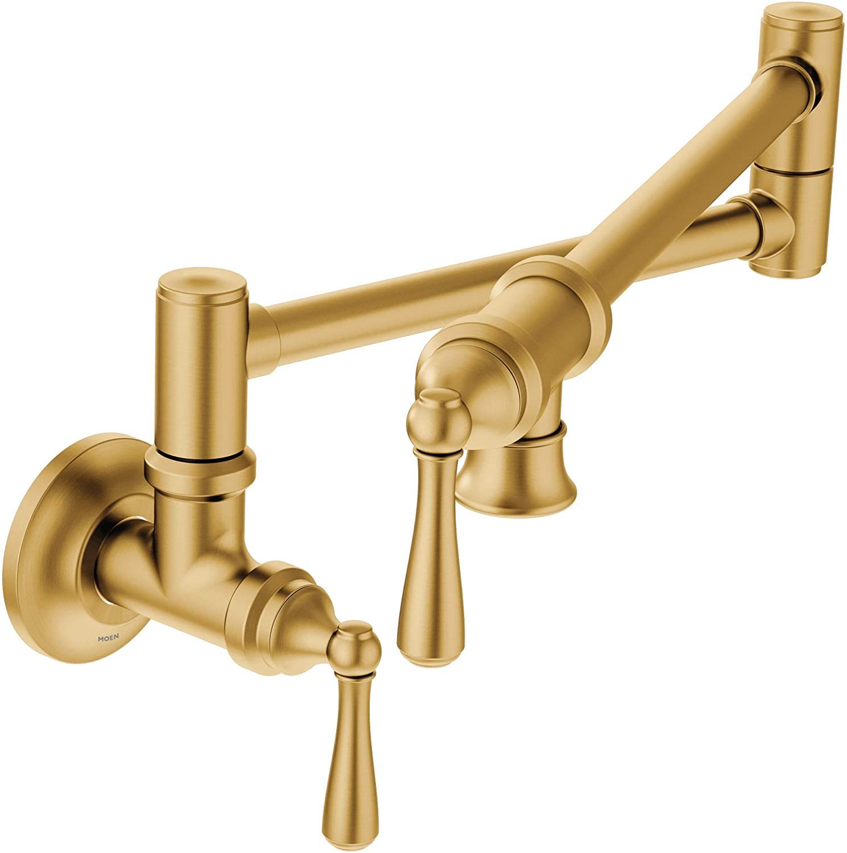 Moen S664bg Traditional Wall Mount Swing Arm Folding Pot Filler Kitchen Faucet Brushed Gold Amazon Com