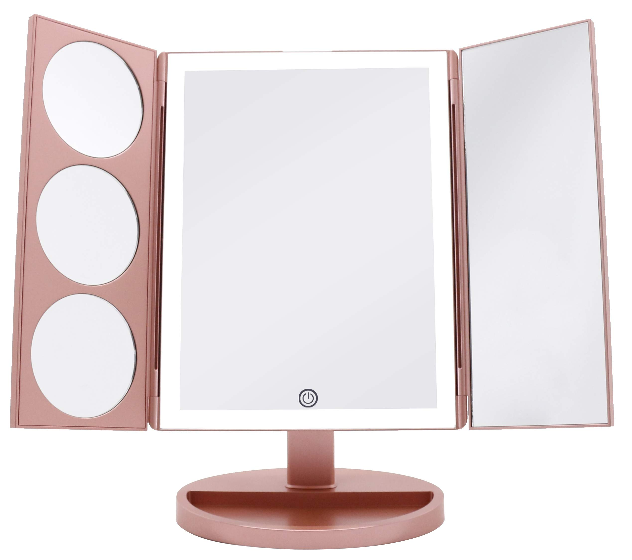 CDM product Milzie Makeup Vanity Mirror with 44 Natural White LED Lights, 3x 5x 10x Magnification Lighted Makeup Mirror, Extra Large Unique Tri-Fold Design, Countertop Cosmetic Mirror Rose Gold, X-Large Model big image