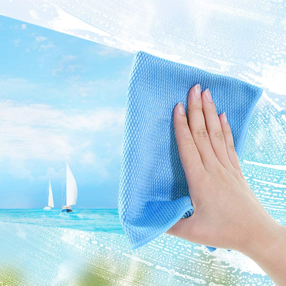 Pulizia di vetri per finestre VIVOTE Panni Pulizia in Microfibra Auto per Elettrodomestici in Acciaio Inossidabile lucidatura 40cmx40cm Confezione da 4 4 Blu