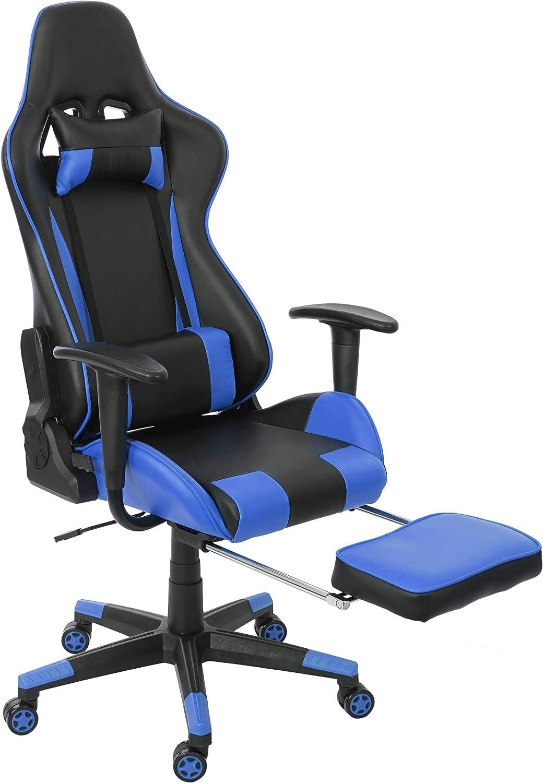 Mendler Chaise de Bureau HWC D25 XXL, capacité 150kg, Similicuir ~ NoirBleu