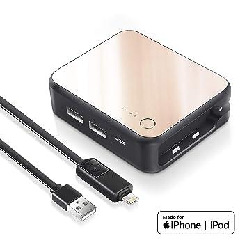 Luxtude Cargador Portátil de Carga Rápida 6000mAh con 2 Salidas(USB) 2 Entradas(Lightning&Micro USB), Bateria Externa Doble Puertos para iPhone, ...