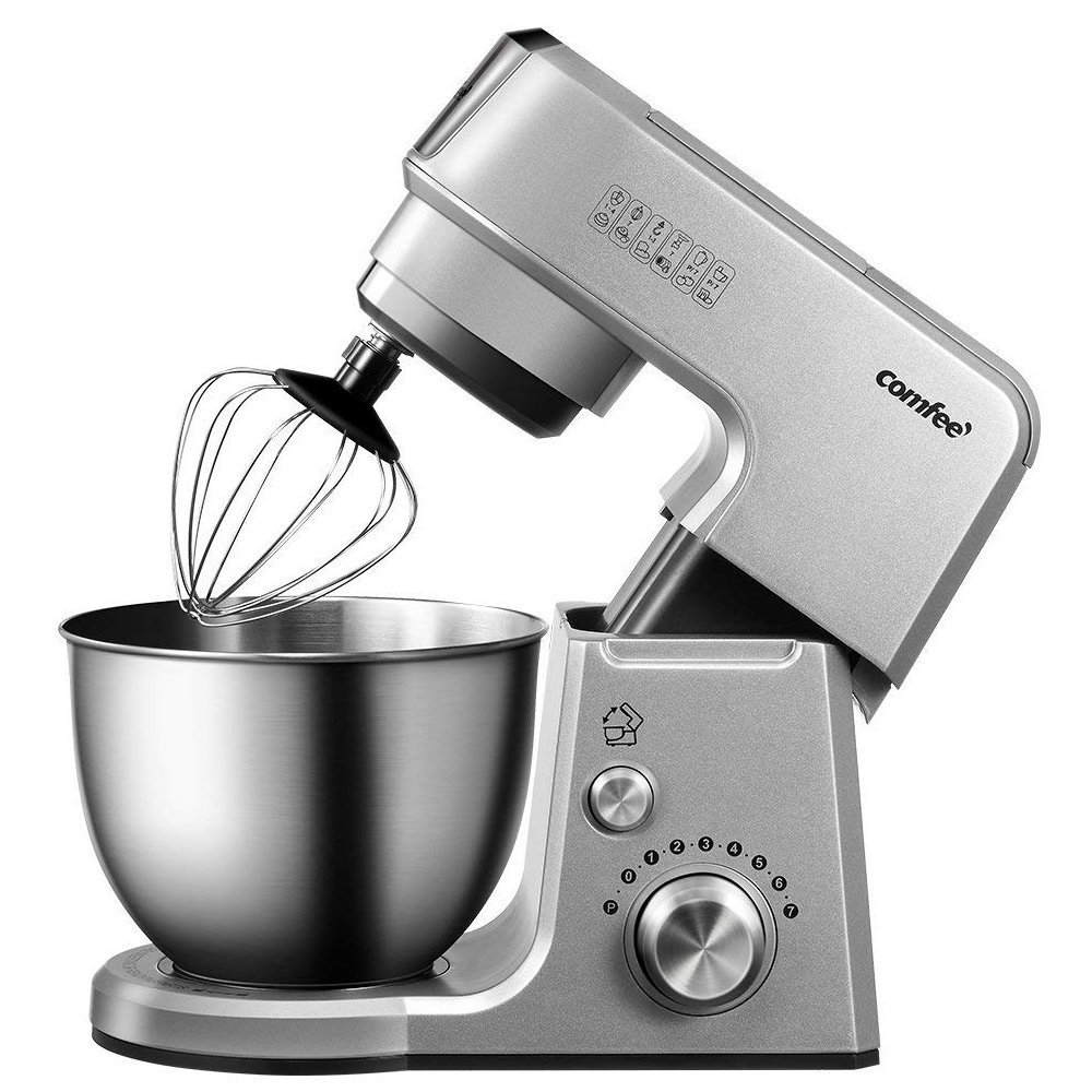 Comfee 2.6Qt Die Cast 7-in-1 Multi Function Tilt-Head Stand Mixer with SUS Mixing Bowl, Whisk, Hook, Beater, Splash Guard.4 Outlets, 7 Speeds & Pulse, 15 Minutes Timer Planetary Mixer (Silver)