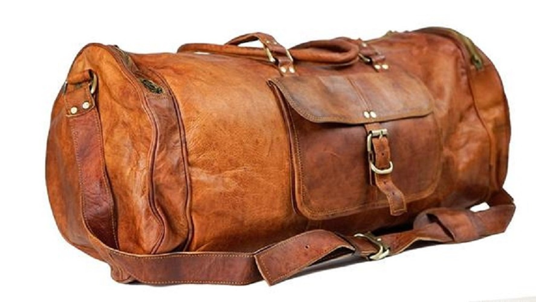 TUZECH Pure Light-weight Vintage Leather bag 22 inch Duffel Carry Portable Bag