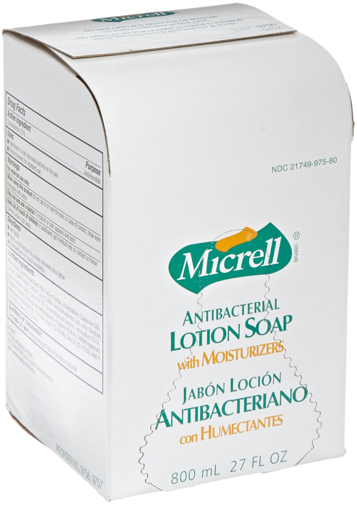 Micrell 9756-06 Antibacterial Lotion Soap, 800 mL Refill (Pack of 6)