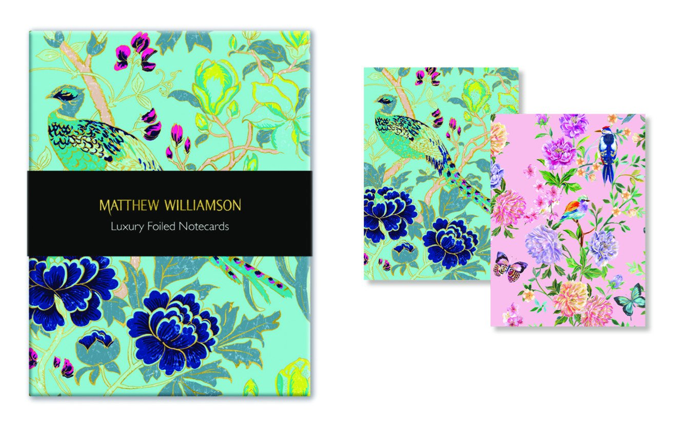 MUT38 Matthew Williamson Feather Prints Luxury Foiled Notecards, Museums /& Galleries