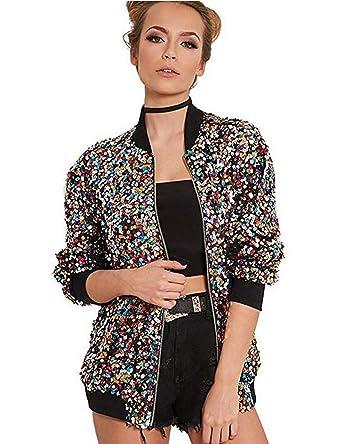 fd4928957 Womens Color Sequins Bomber Jacket Zipper Blazer Jacket