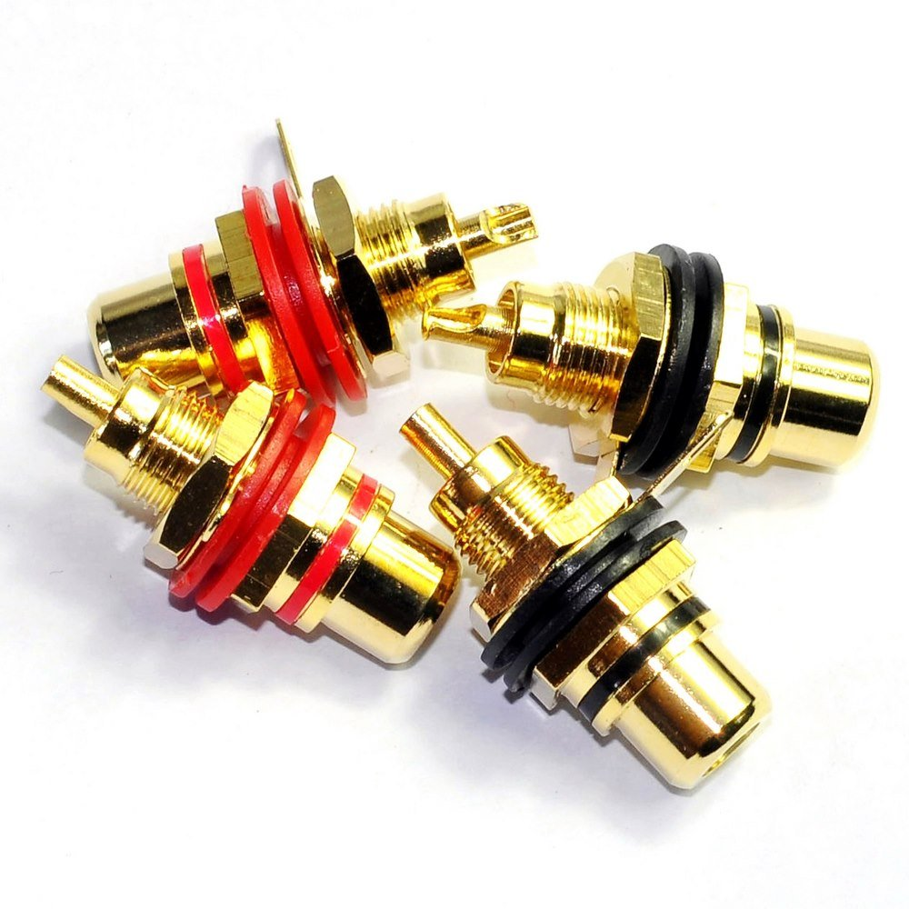 Cary 4pcs Gold RCA Jack Female Chassis Connector AMP Sockets