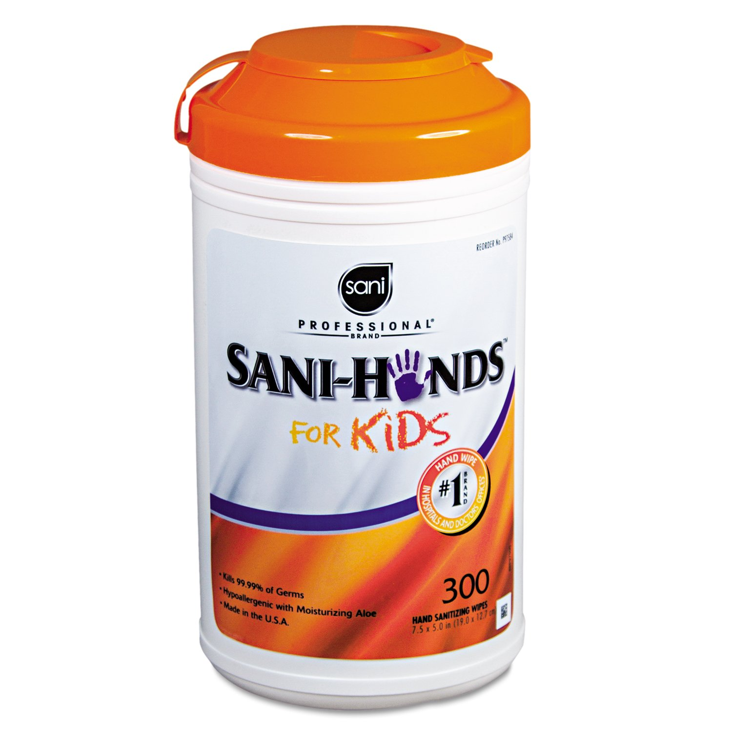 Sani Professional P97584 Hands Instant Sanitizing Wipes for Kids, 5 x 7 1/2, White, 300 per Pack (Case of 6)