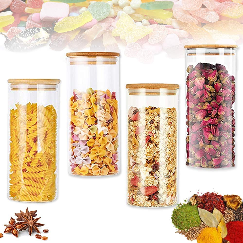 4 PCS 15OZ/450ML Clear Glass Storage Jar,Clear Glass Jar Set,Glass Jars with Bamboo Lids for Serving Tea,Coffee,Spice,Candy,Cookie,NOT for SPAGHETTI