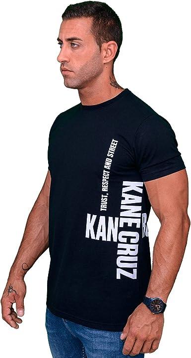 Kane Cruz - Roomy Saido Black White - Camiseta Manga Corta Hombre - Fabricada en España - Moda Urbana: Amazon.es: Ropa y accesorios