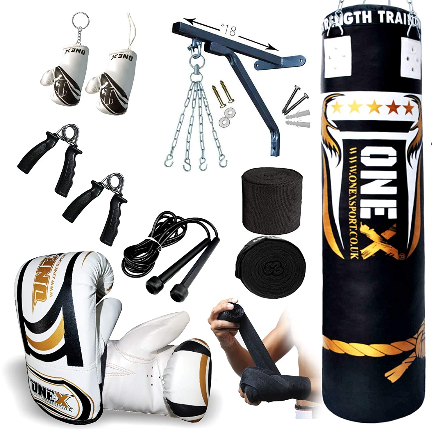 14-Piece Boxing Set 5ft Filled Heavy Punch Bag Gloves,Chains,Bracket,Kick