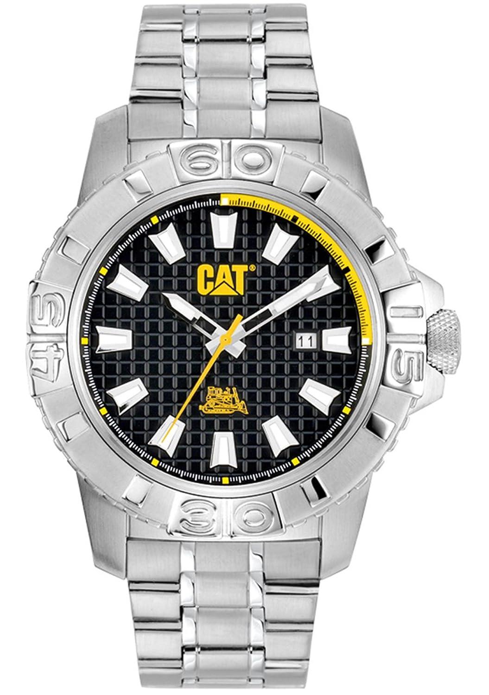 Cat Men'Alaska-Datum Herren Quarzuhr mit schwarzem Zifferblatt Analog-Anzeige und Silber-Edelstahl-Armband CA.141.11.127