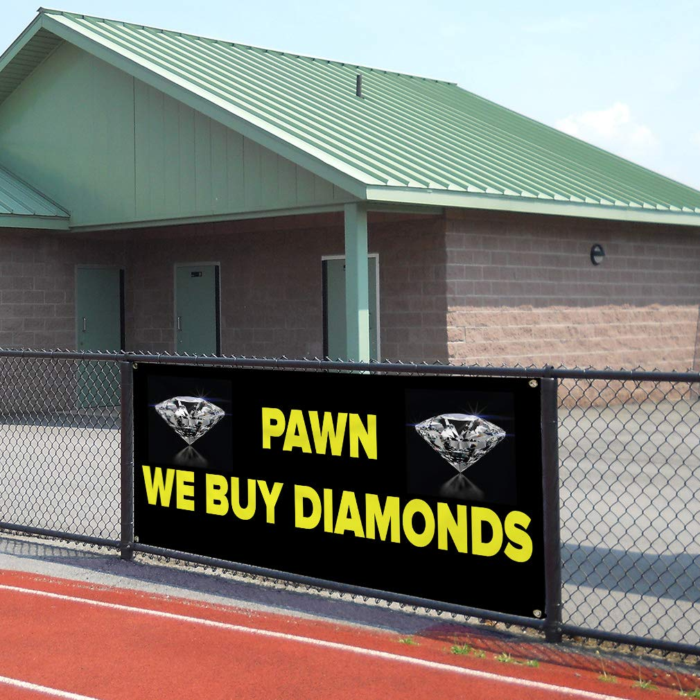 32inx80in Set of 2 6 Grommets Vinyl Banner Sign Pawn We Buy Diamonds Business Pawn Banner Marketing Advertising Black Multiple Sizes Available