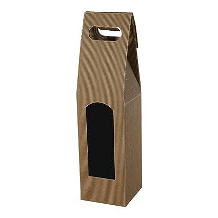 Pack de 25 cajas de cartón Vino Carriers con mango para un Botella Caja de alta