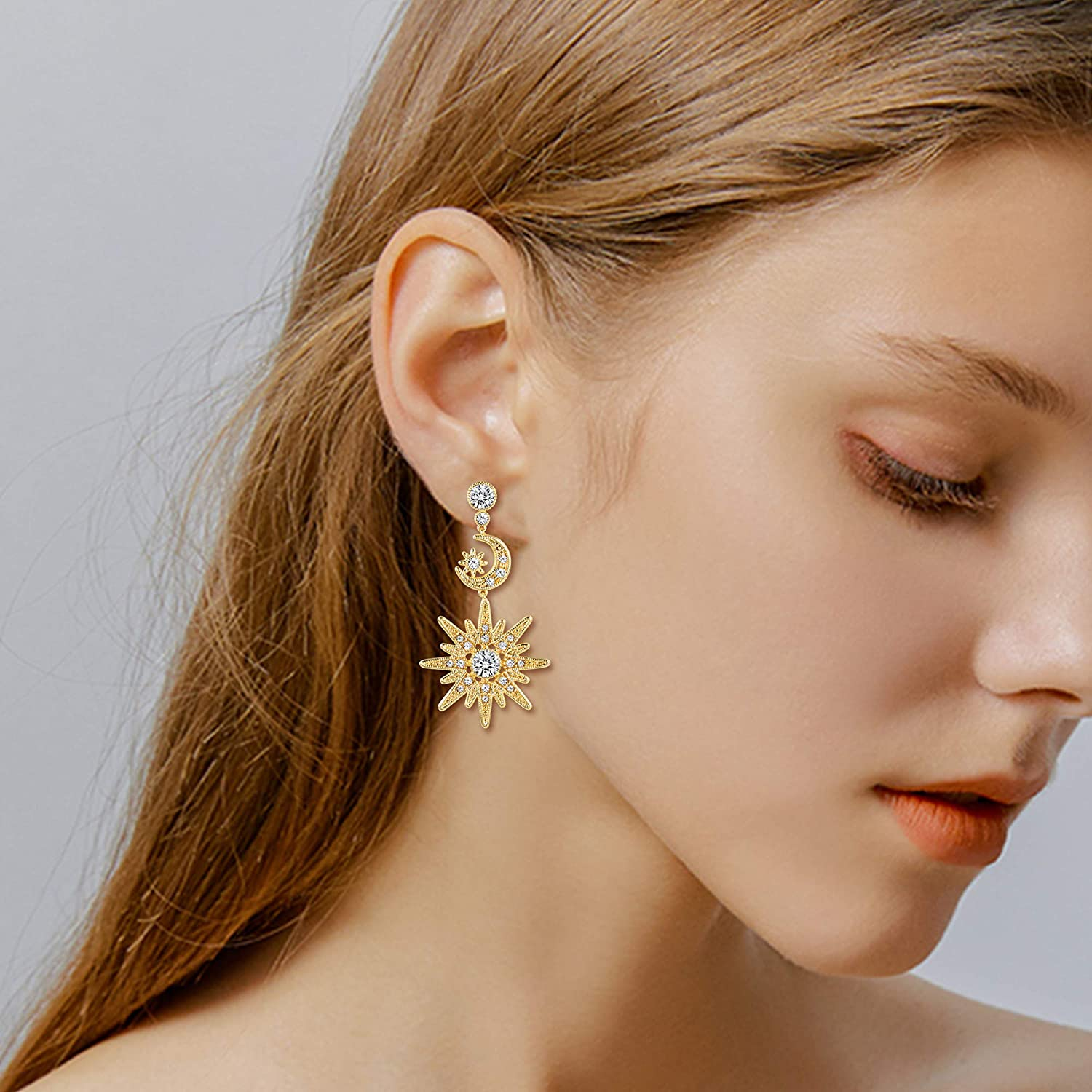 24K gold plated gypsy moon and star earrings with beaded drop embellishments Cosmic Balance