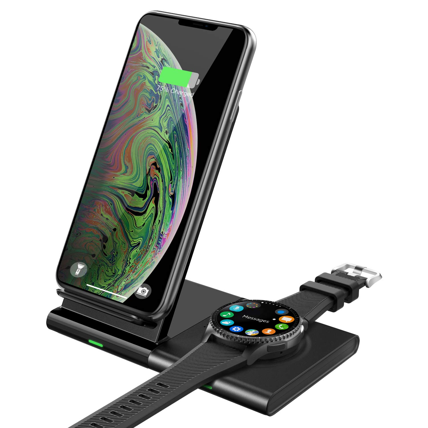 MoKo Wireless Charger Duo Stand, 2 in 1 Dual Qi 10W Fast Charging Station Pad & Dock for Samsung Galaxy Watch 42/46mm, Galaxy Buds, Gear S3, Galaxy Watch Active, Galaxy Note 10/10 Plus/S10/S10+/S9/S8