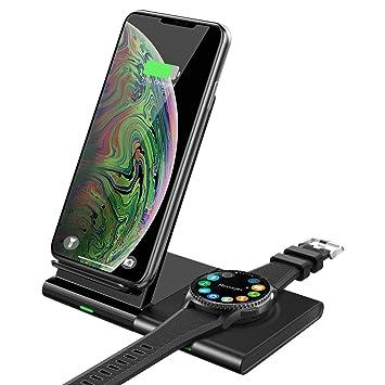 MoKo Qi Cargador Inalámbrico Rápido, Magnético Soporte de Almohadilla Carga rápida Cargador Duo para Samsung Galaxy Watch 42/46mm, Galaxy Buds, Gear ...