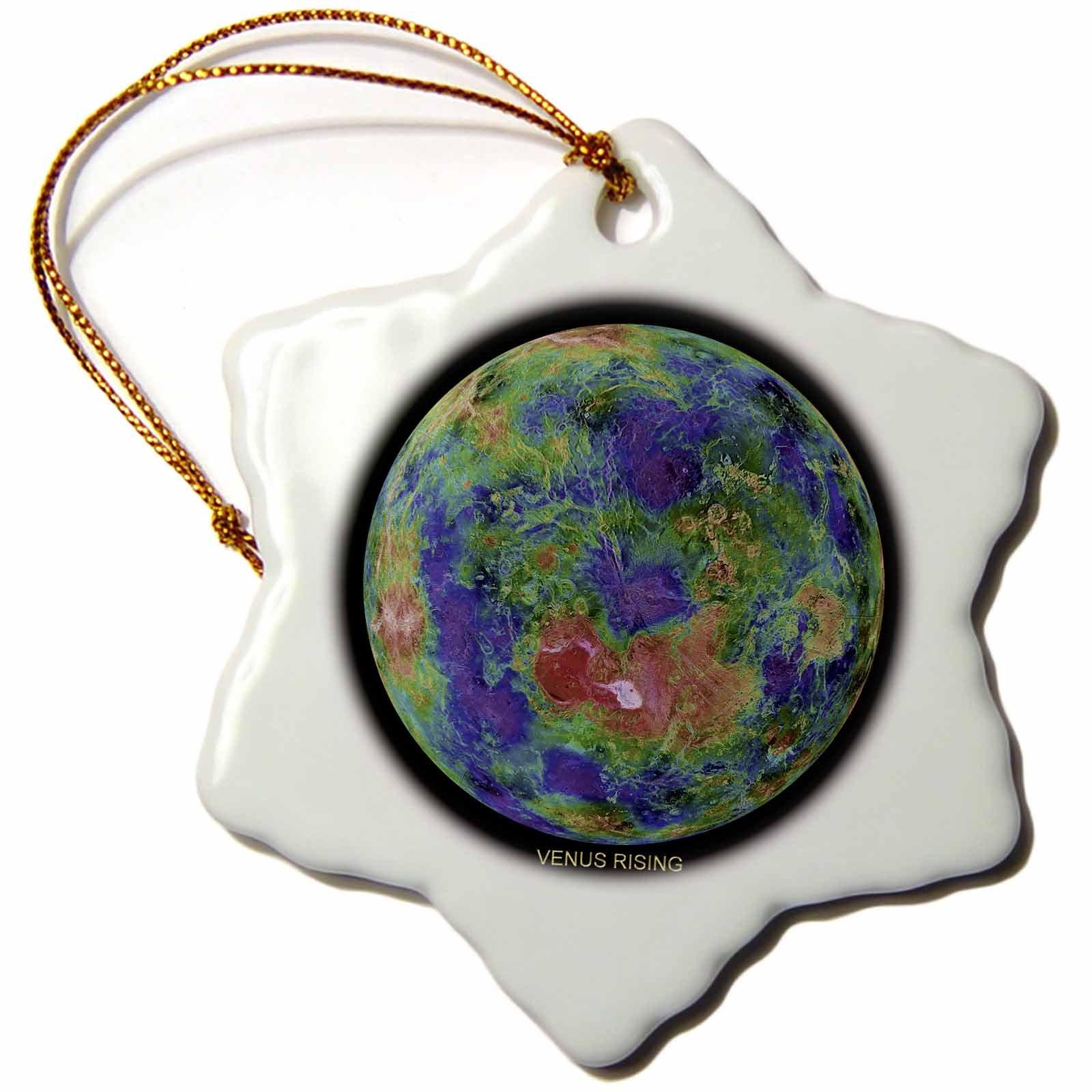 3dRose orn_76853_1 Solar System-Venus Rising-Snowflake Ornament, 3-Inch, Porcelain