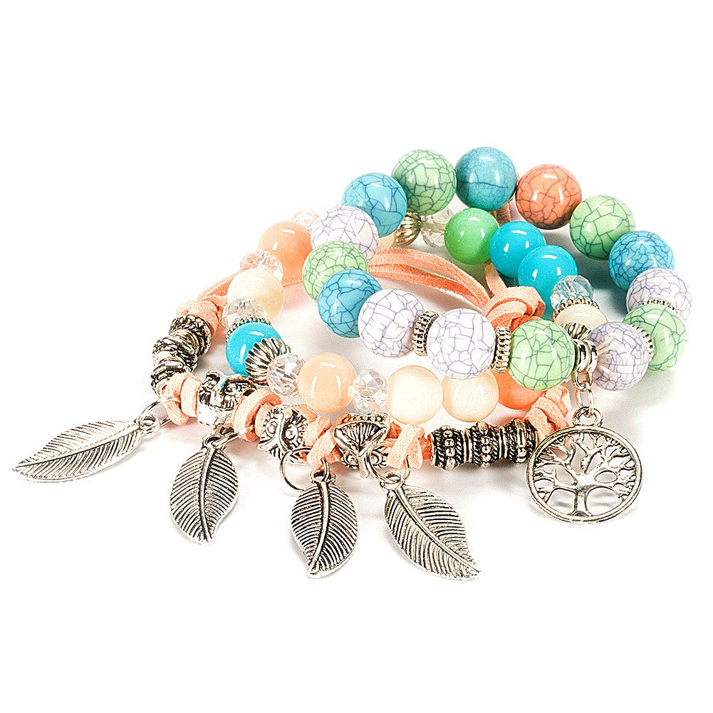 Bogo Arty Multilayer Hand Beaded Stretch Bracelet Fashion Women Charms Crystal Wrist Bracelet