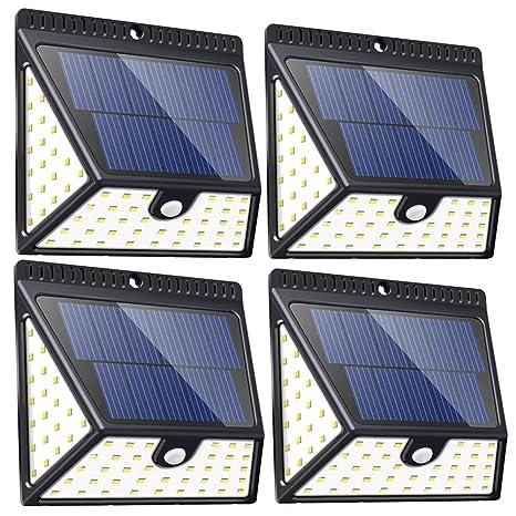 Luces Solares Con 82 LED Para Exteriores Mejoradas, Lámparas Solares Led de Seguridad con Sensor