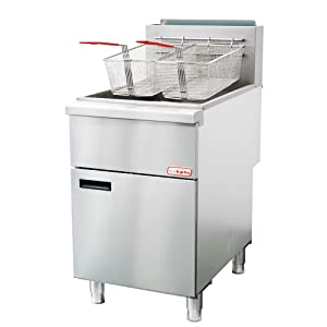 Backychu Commercial Deep Fryer Natural Gas Floor Fryer with Dual Nickel-plated Fryer Baskets for Restaurant, Kitchen, Cooking, Frying, Fish, French Fries, 5 Tube, 150,000 BTU/h, 75-80 lbs