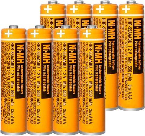 8 x Pilas Recargables AAA 550 mah 1.2v para Panasonic, baterias Recargables NiMH para telefonos inalambricos: Amazon.es: Electrónica